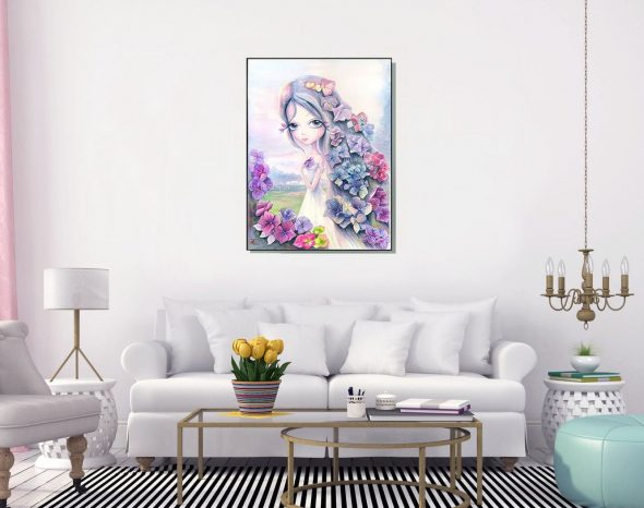 hydrangea. printable artwork. original painting