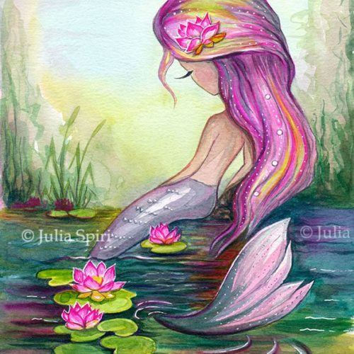 Mermaid and Lotus. Original art. printable art