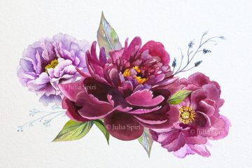 Bouquet of purple peonies