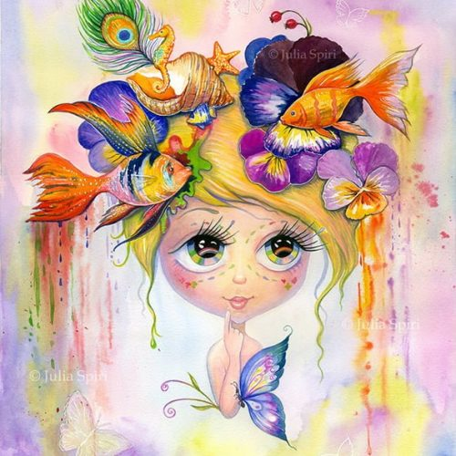 Painting with watercolors. Whimsy