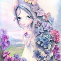 Hydrangea watercolor painting. Printable artwork. Pop Surrealism
