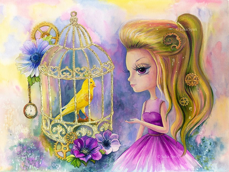 watercolor painting, Bird in cage