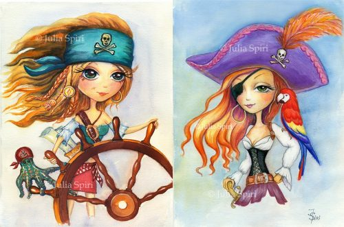 Pirates. Watercolor on Paper.