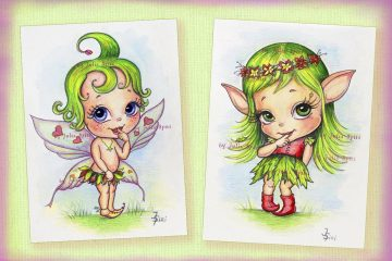The babies. Watercolor, Color Pencils on Paper