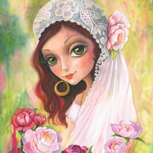 Gypsy bride, watercolor