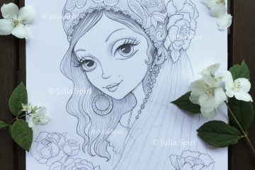Gypsy bride. Black and white drawing