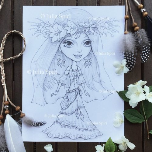 Boho bride, drawing