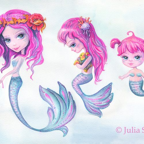 Happy mermaids, watercolor