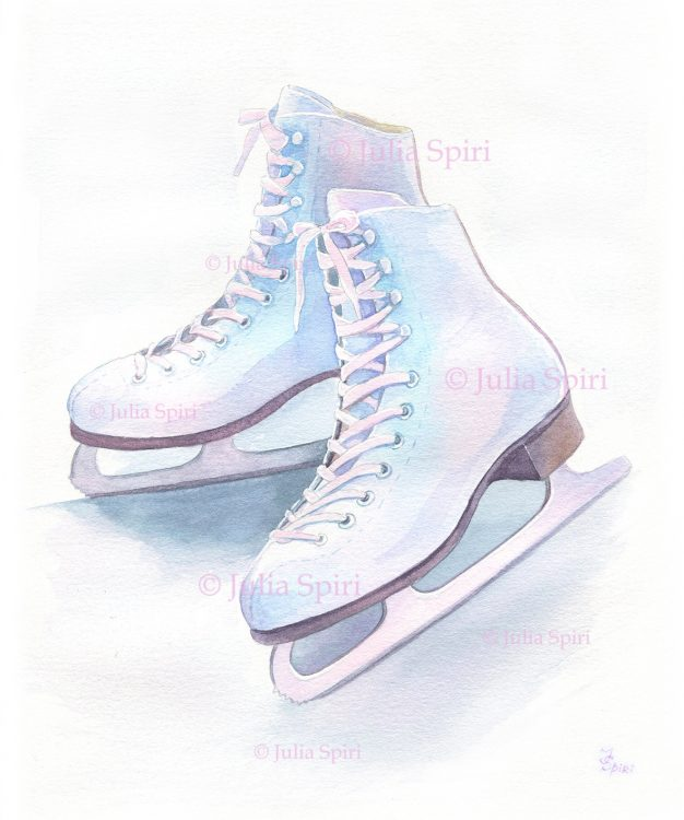 Ice Skates. Watercolor